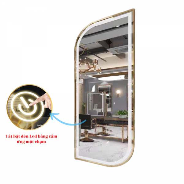 Gương đèn led cảm ứng hình quả xoài khung hợp kim mạ màu cao cấp dành cho salon tóc chuyên nghiệp