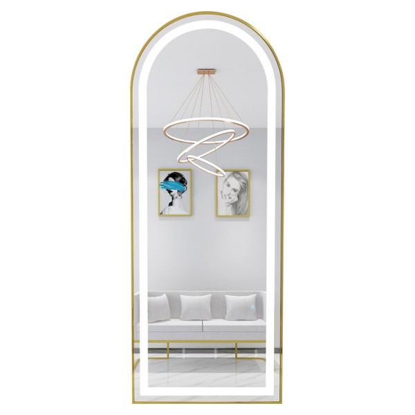 Gương vòm một đầu LED cảm ứng khung hợp kim mạ màu cao cấp dành cho salon tóc chuyên nghiệp