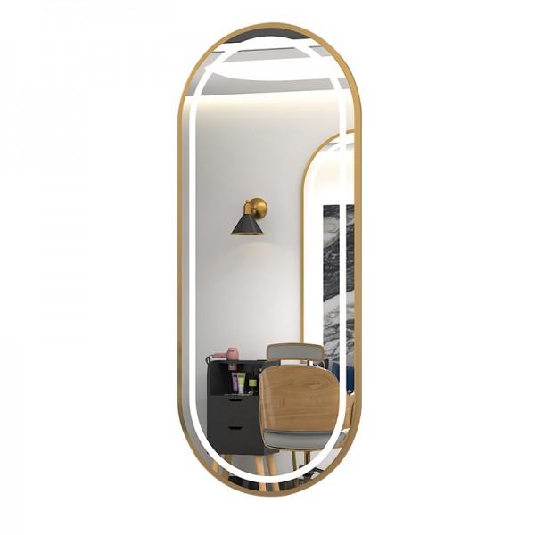 Gương  vòm 2 đầu  đèn led  khung gỗ cao cấp cảm ứng cho salon tóc chuyên nghiệp