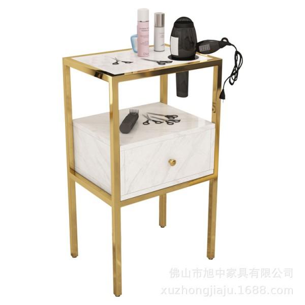 Tủ để đồ cạnh gương khung inox mạ PVD cho thợ tóc ND - 03